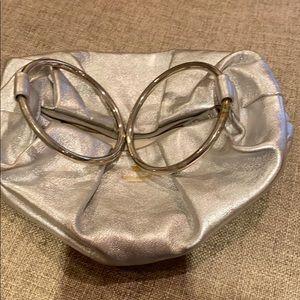 Small Silver Leather Kate Spade Wristlet